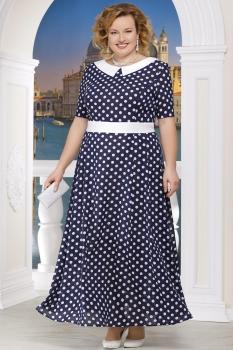 Платье Ninele 295-1 синий+горохи