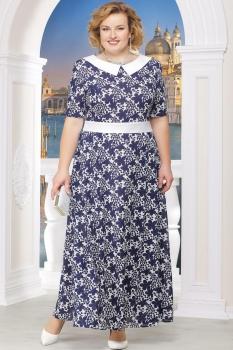 Платье Ninele 295-2 синие-цветы