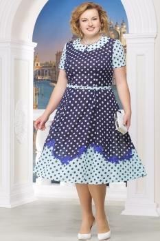 Платье Ninele 5522-3 синие-горохи
