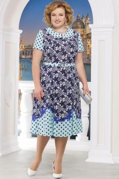 Платье Ninele 5522-4 синие-цветы