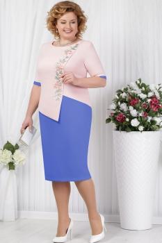 Платье Ninele 5619-1 васильковый+пудра