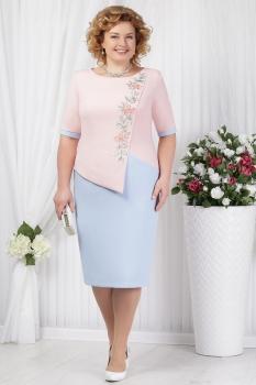 Платье Ninele 5619 пудра+голубой