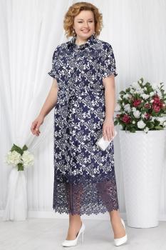 Платье Ninele 5624-1 синий+цветы