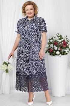Платье Ninele 5624-2 синий+ромашки
