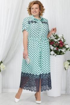 Платье Ninele 5624-3 мята+синие горохи