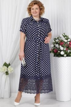 Платье Ninele 5624 синий+горохи