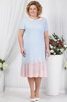 Платье Ninele 5625 голубой+пудра