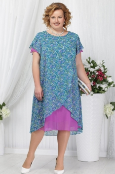 Платье Ninele 5632 фуксия+цветы