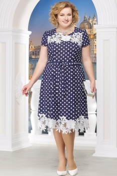 Платье Ninele 754-10 синие-горохи