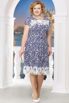 Платье Ninele 754-7 синие-узоры