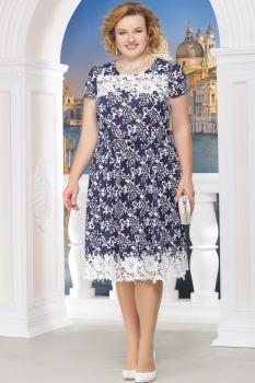 Платье Ninele 754-9 синие-цветы
