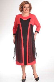 Платье Новелла Шарм 2489 коралл+черный
