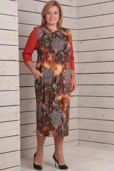 Платье Новелла Шарм 2502 узоры+красный