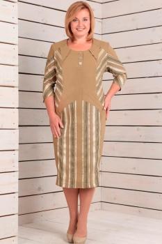 Платье Новелла Шарм 2505 бежевый+полоска