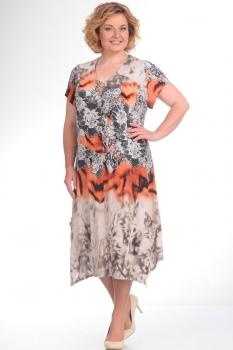 Платье Новелла Шарм 2590-3 бежевые тона+терракот