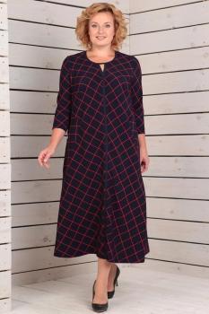 Платье Новелла Шарм 2721 темно-синий+клетка