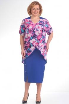 Платье Новелла Шарм 2765 синий+цветы