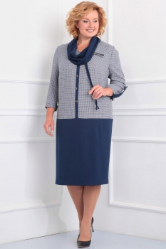 Платье Новелла Шарм 2810 серый+темно-синий