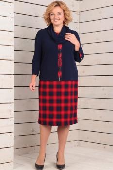Платье Новелла Шарм 2823 темно-синий+красная клетка