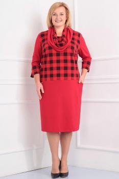 Платье Новелла Шарм 2836 красный+клетка