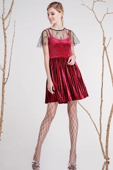 Платье Prestige 3284 черный+бордовый