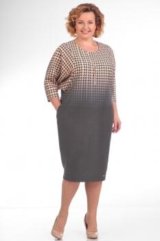 Платье Pretty 668 бежево-серый