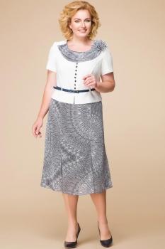 Платье Romanovich 1-1013-10 серые перья, молочный
