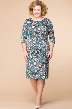 Платье Romanovich 1-1222-8 серый с бирюзовым