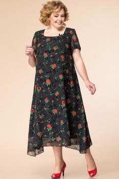 Платье Romanovich 1-1332-30 чёрный, розы