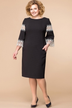 Платье Romanovich 1-1597 чёрный с белым