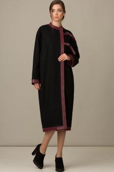 Пальто Rosheli 335 черный+бордо