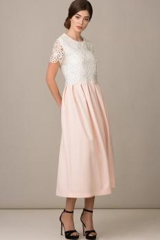 Платье Rosheli 458 розовый с белым