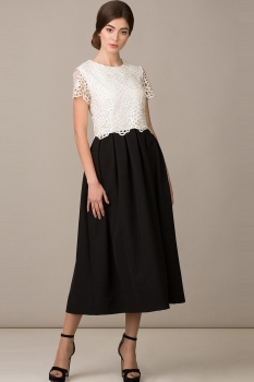 Платье Rosheli 459 черный с белым