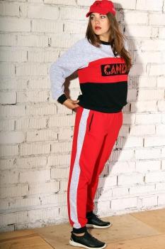 Спортивный костюм Runella 1293 серый+красный