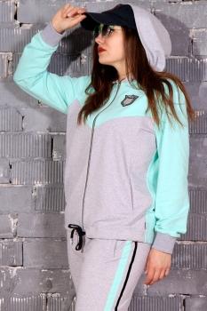Спортивный костюм Runella 1347 серый+мята - фото 2
