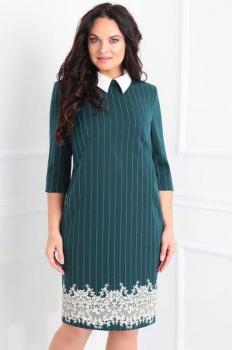 Платье Sandyna 13334 зеленый+полоска