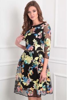Платье Sandyna 13351-1 черный+цветы
