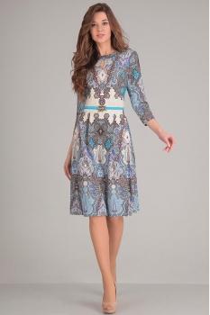 Платье Sandyna 13380 бежевые узоры