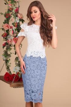 Платье Sandyna 13399-1 белый+серый