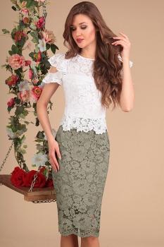 Платье Sandyna 13399-2 белый+хаки
