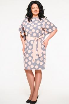 Платье Swallow 059-1 серо–розовый (круги)