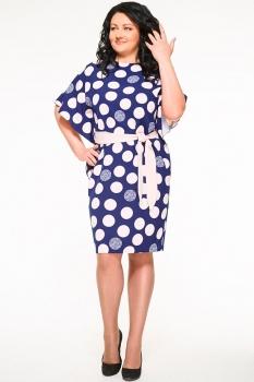 Платье Swallow 059-2 темно-синий+розовый (круги)