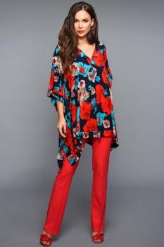 Блузка Teffi Style 1320-1 с красными цветами