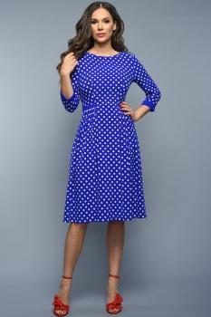 Платье Teffi Style 1336 горох на синем