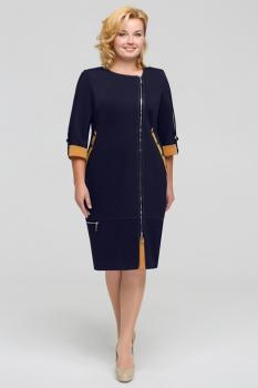 Платье Теллура-Л 1201-3 тёмно-синий+горчичный