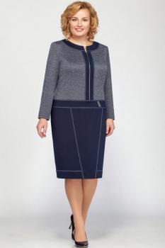 Платье Теллура-Л 1384 темно-синий+серый