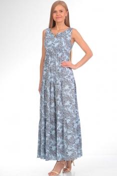 Платье Tvin 7340/2 голубой с перьями