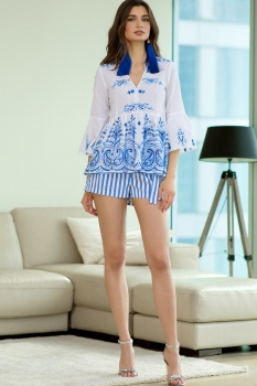 Блузка Vesnaletto 1765-1 белыйс синим