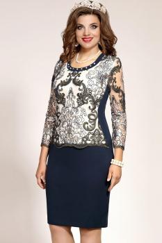 Платье Vittoria Queen 4573/1 Молочный/Темно-синий